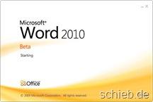 Word 2010 startet.