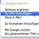 OSX Mail: eMails von wichtigen Leuten automatisch markieren