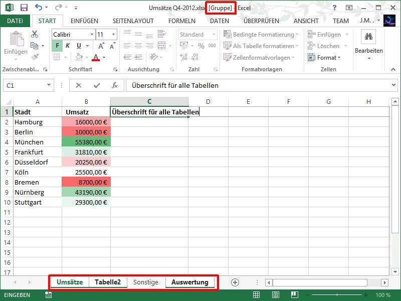 Arbeitsblätter Excel Gruppieren: Excel arbeitsblätter farbig ...