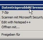 Datenträgerabbild brennen mit Windows 7