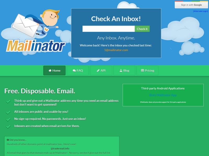 Mailinator spam emails