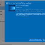 Windows10: Vom Microsoft-Konto zu einem lokalen Konto wechseln
