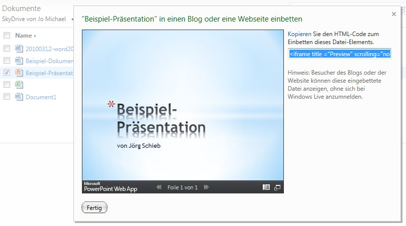 SkyDrive: Office-Dokument in Website einbinden