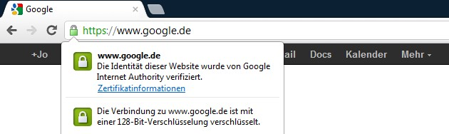 Google.de mit SSL-Verschlüsselung