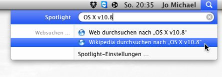 Mac OS X Lion: Wikipedia per Spotlight durchsuchen