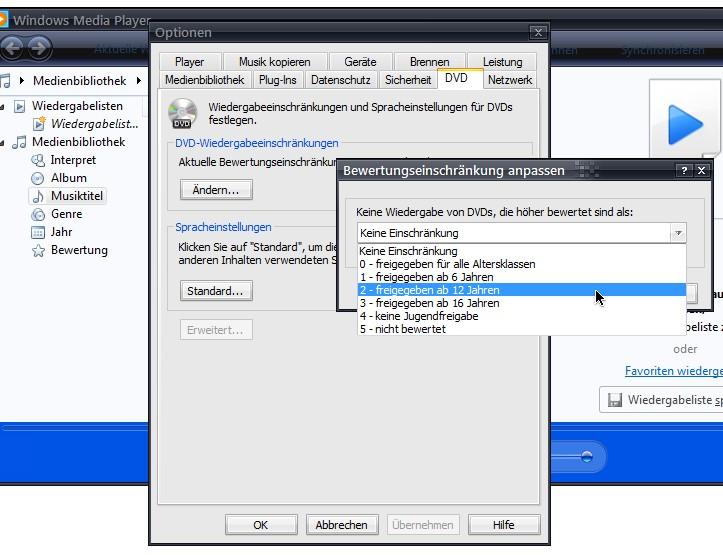 Windows Media Player: Jugendschutz-Einstellungen für DVDs